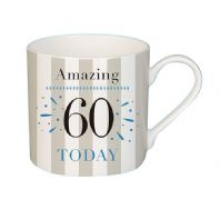 'Amazing 60 Today' Happy 60th Birthday Fine China Mug Boxed..